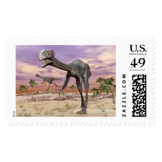 Gigantoraptor dinosaurs in the desert - 3D render Postage