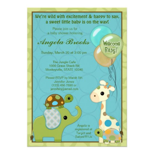 Giggle Gang Baby Shower Invitations Animals