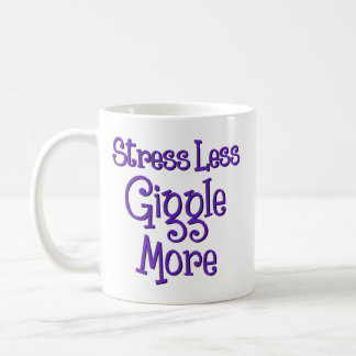 GIGGLE MORE, purple ink Coffee Mug