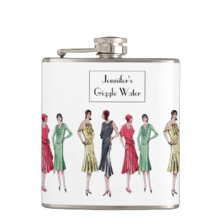 """Giggle Water"" 1920's Slang Jazz Age Flapper Hip Flask"