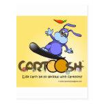 giggleBunny en la snowboard de Cartoosh Postal