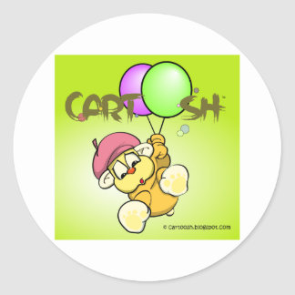 giggleCubby flys off (yellowish green) Classic Round Sticker
