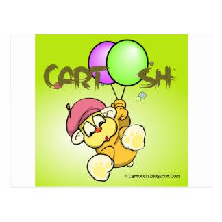 giggleCubby flys off (yellowish green) Postcard