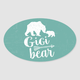Gigi Bear Cute Great Grandma Gift Oval Sticker