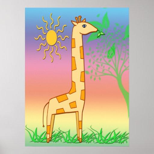 """Gigi el 18"""" del niño lindo de la jirafa"""" poster x2"""
