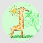 Gigi the Giraffe Cute Kid's Round Sticker