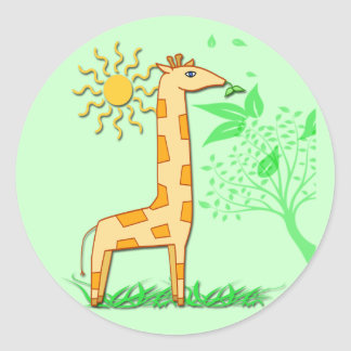Gigi the Giraffe Cute Kid's Round Sticker