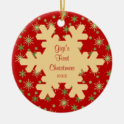 Gigi's First Christmas Red Snowflake Ornament