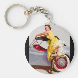 GIL ELVGREN Cover Up Pin Up Art Keychain
