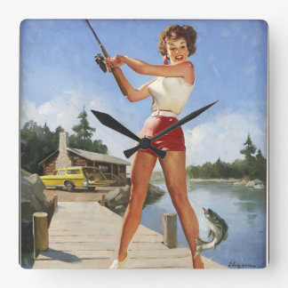 GIL ELVGREN Girl Fishing Pin Up Art Square Wall Clock