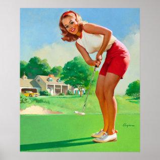 Gil Elvgren Golfer Pin Up Art Poster at Zazzle