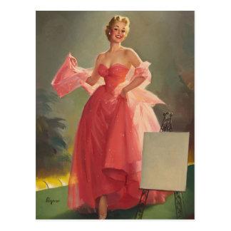 GIL ELVGREN Miss Sylvania 1 Pin Up Art Postcard