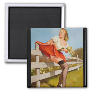 GIL ELVGREN On the Fence, 1959 Pin Up Art Magnet