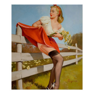 GIL ELVGREN On the Fence, 1959 Pin Up Art Poster