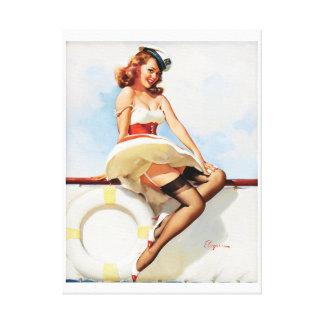 GIL ELVGREN Sailor Girl, 1970s Pin Up Art Canvas Print