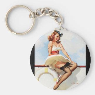 GIL ELVGREN Sailor Girl, 1970s Pin Up Art Keychain