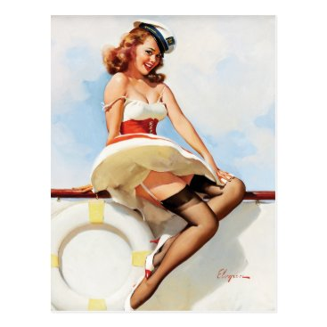 Pin_Up_Art GIL ELVGREN Sailor Girl, 1970s Pin Up Art Postcard