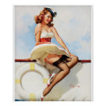 GIL ELVGREN Sailor Girl, 1970s Pin Up Art Poster