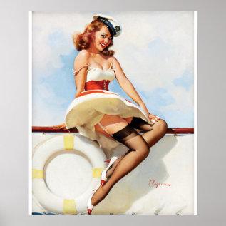 Gil Elvgren Sailor Girl, 1970s Pin Up Art Poster at Zazzle