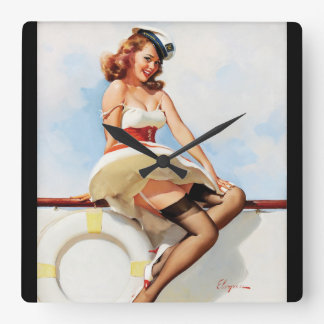 GIL ELVGREN Sailor Girl, 1970s Pin Up Art Square Wall Clock