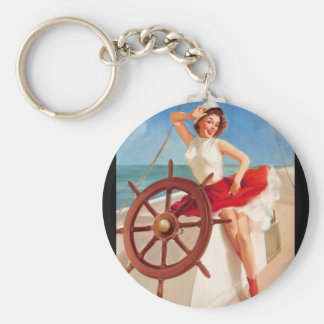 GIL ELVGREN Sailor Girl  Pin Up Art Keychain