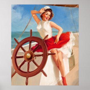 Gil Elvgren Sailor Girl Pin Up Art Poster at Zazzle