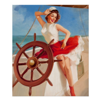 GIL ELVGREN Sailor Girl Pin Up Art Poster