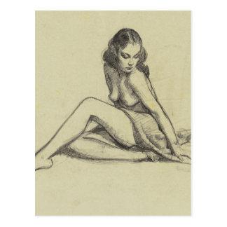 GIL ELVGREN Seated_1 Pin Up Art Postcard