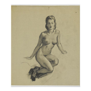 Gil Elvgren Seated_2 Pin Up Art Poster at Zazzle