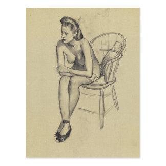 GIL ELVGREN Seated Pin Up Art Postcard