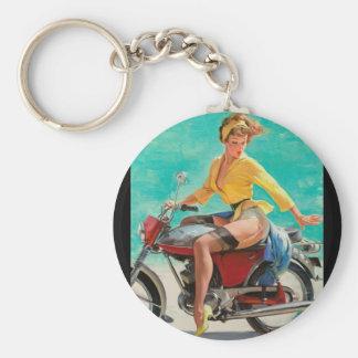 GIL ELVGREN Skirting the Issue Pin Up Art Keychain