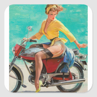 GIL ELVGREN Skirting the Issue Pin Up Art Square Sticker