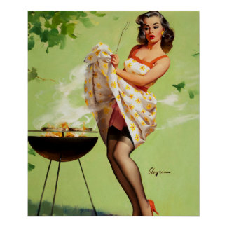 GIL ELVGREN Smoke Screen Pin Up Art Poster