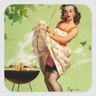 GIL ELVGREN Smoke Screen Pin Up Art Square Sticker