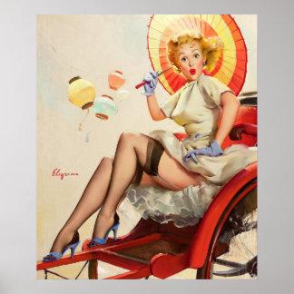 GIL ELVGREN Something's Bothering You Pin Up Art Poster