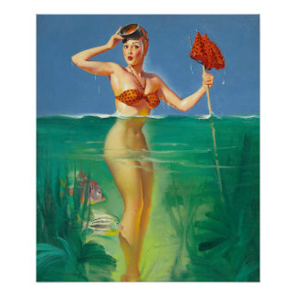 GIL ELVGREN Surprising Catch Pin Up Art Poster