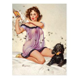 GIL ELVGREN Ticklish Situation Pin Up Art Postcard
