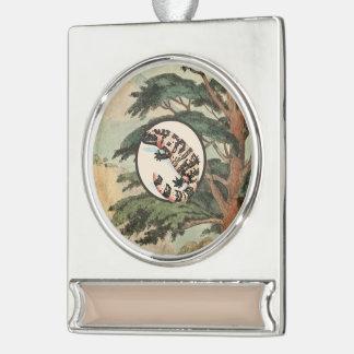 Gila Monster In Natural Habitat Illustration Silver Plated Banner Ornament