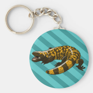 Gila Monster (Updated) Teal Stripes Button Keychain