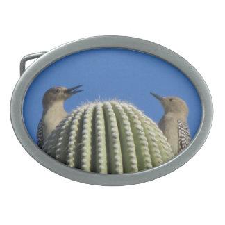 Gila Woodpecker Couple Oval Belt Buckle