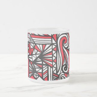 Gilb Abstract Expression Red White Black 10 Oz Frosted Glass Coffee Mug