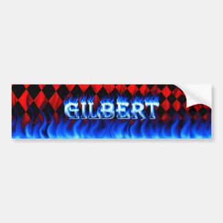 Gilbert blue fire and flames bumper sticker design car bumper sticker