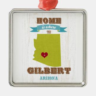 Gilbert, mapa de Arizona - casero es donde está el Adorno Navideño Cuadrado De Metal