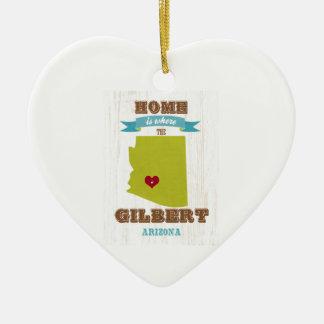 Gilbert, mapa de Arizona - casero es donde está el Adorno Navideño De Cerámica En Forma De Corazón