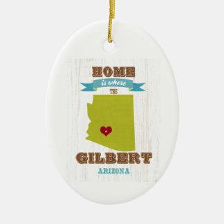 Gilbert, mapa de Arizona - casero es donde está el Adorno Navideño Ovalado De Cerámica