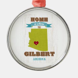 Gilbert, mapa de Arizona - casero es donde está el Adorno Navideño Redondo De Metal