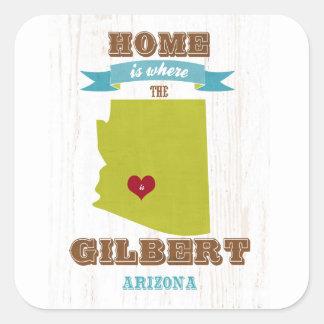 Gilbert, mapa de Arizona - casero es donde está el Pegatina Cuadrada