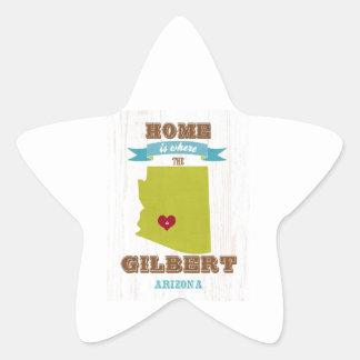 Gilbert, mapa de Arizona - casero es donde está el Pegatina En Forma De Estrella