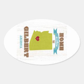 Gilbert, mapa de Arizona - casero es donde está el Pegatina Ovalada