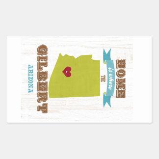 Gilbert, mapa de Arizona - casero es donde está el Pegatina Rectangular